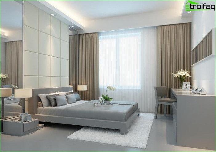 Cortinas fotográficas para el dormitorio al estilo minimalista.