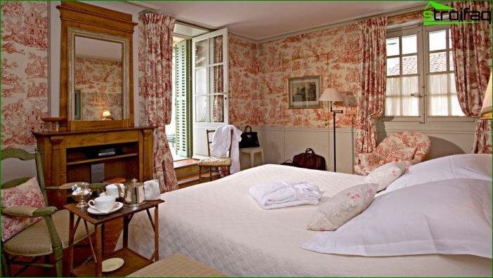 Cortinas fotográficas para el dormitorio al estilo provenzal