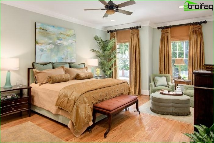 Curtains in a bedroom with two windows