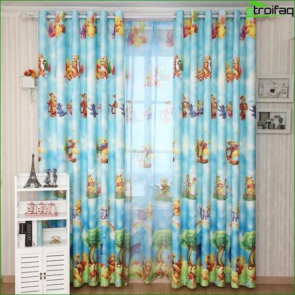 Foto de cortinas para la habitación de un niño.