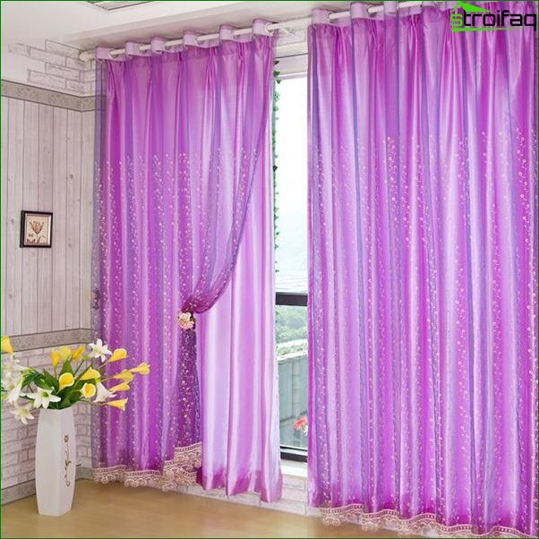 Photo curtains in the bedroom
