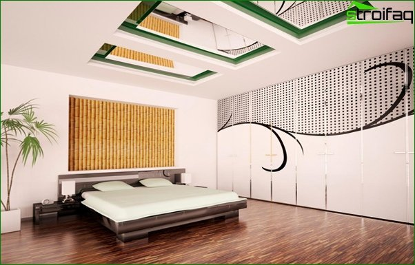Trends 2017 in the design of the bedroom (ceiling) - 1