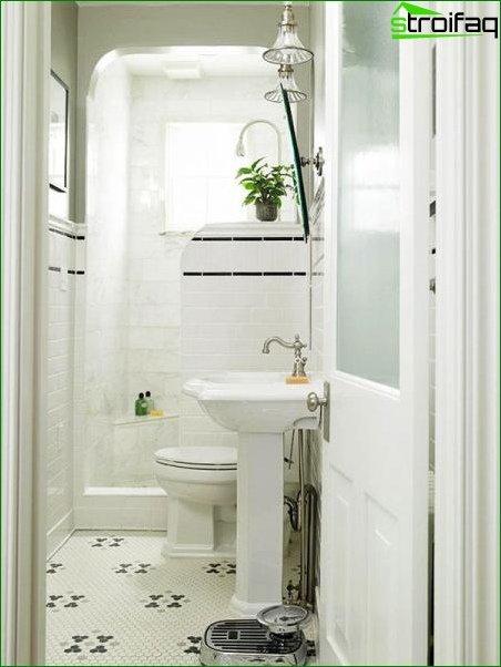 White bathroom design with toilet