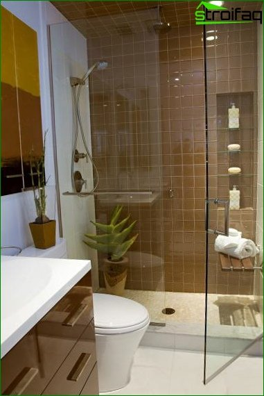 Shower cubicle in the combined bathroom