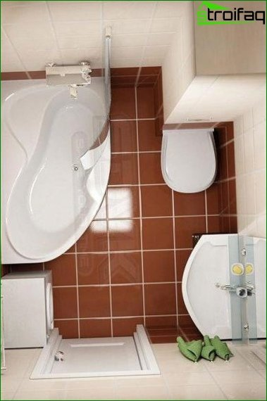 The project of a small bathroom combined with a toilet