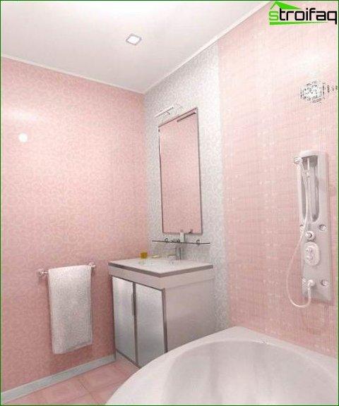Spotlights in a pink interior