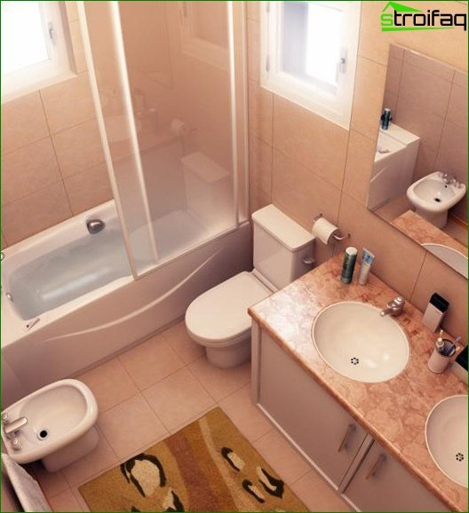Comfortable furniture in the combined bathroom