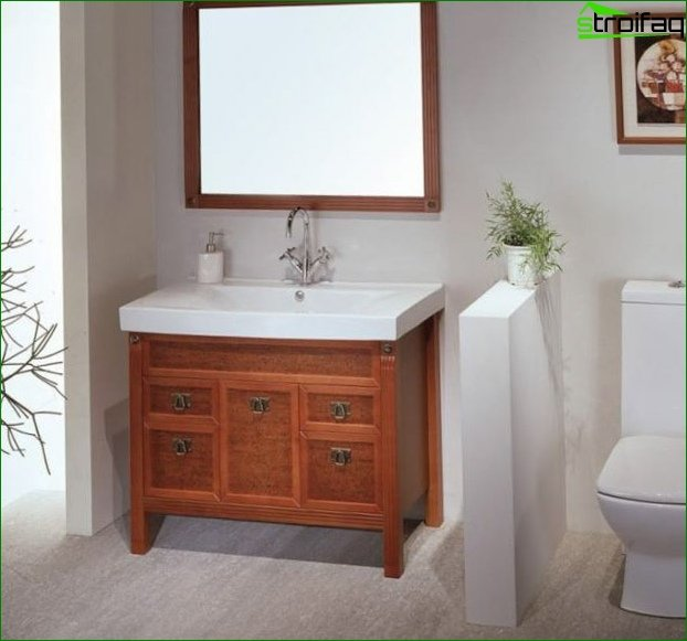 Techniques for a visual increase in the area of the toilet 1