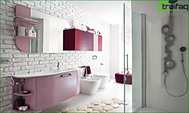 Wall decoration in the bathroom with tiles - 5