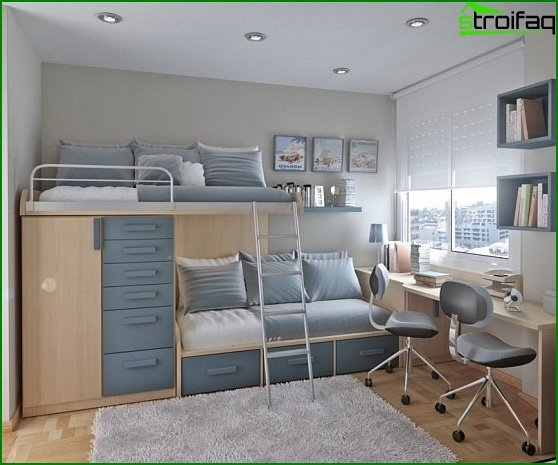 Layout for a room 10-12 sq.m 2