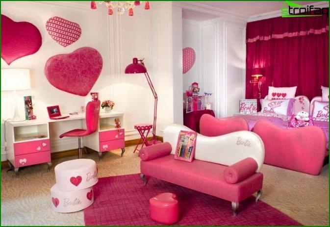 غرفة نوم الأطفال الوردي - صور