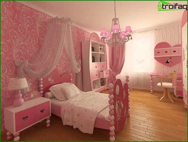تصميم غرفة نوم وردي