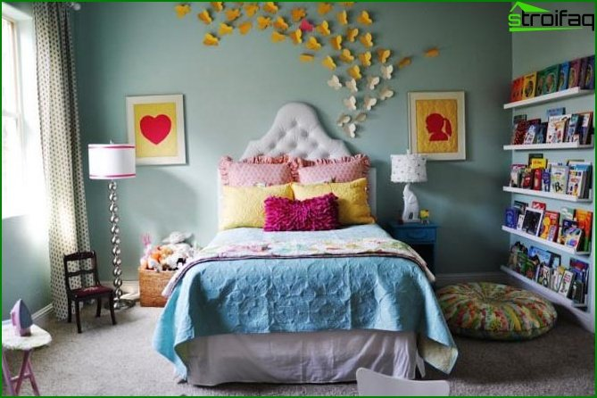 Photo of the bedroom in shades of blue