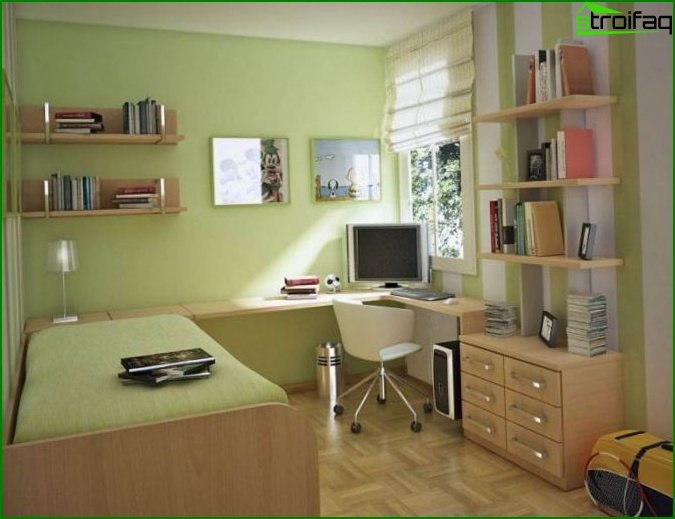 Bedroom in shades of green - photo