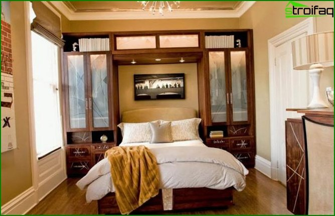 Photo of the interior of the bedroom 12 sq. M in various styles