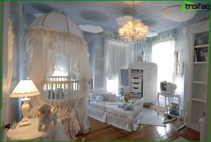 Habitación para el niño en un estilo clásico.
