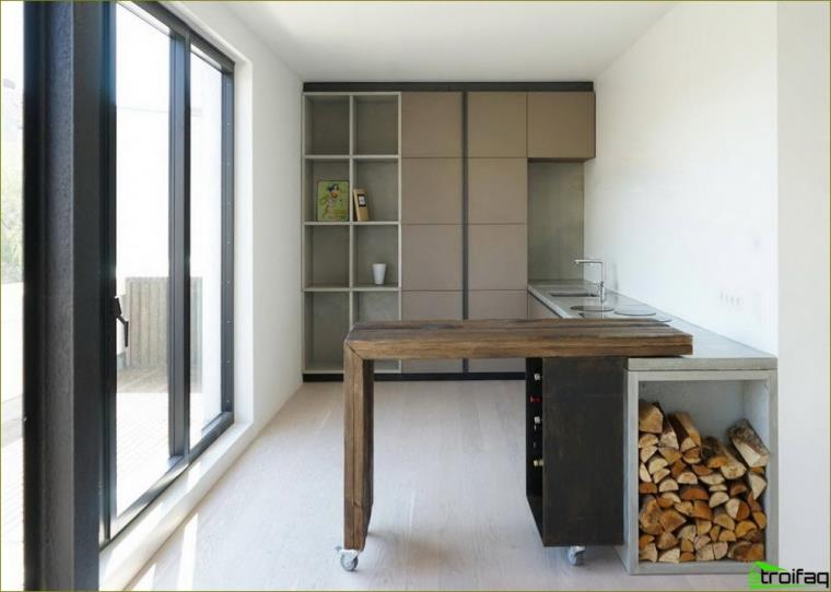 cocina combinada con sala de estar