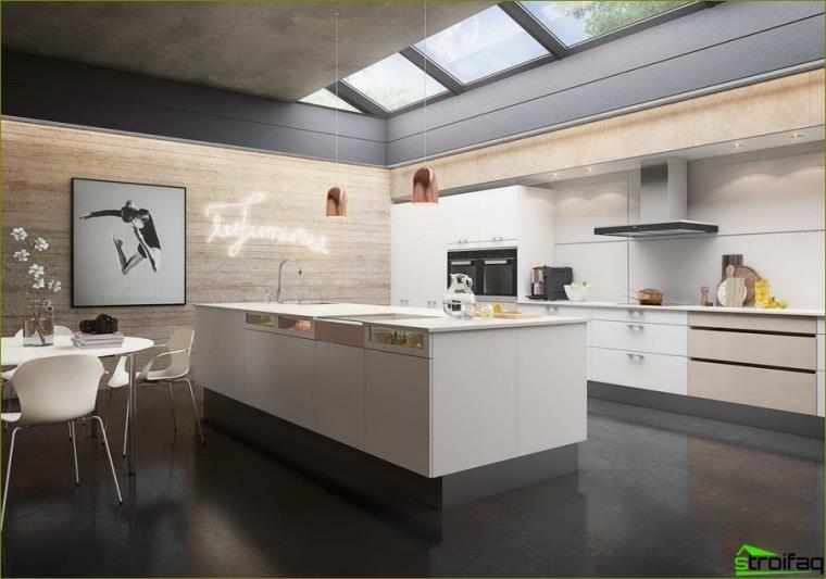 Foto de cocina beige
