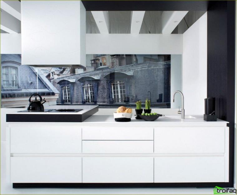 Fototapet i køkkenet