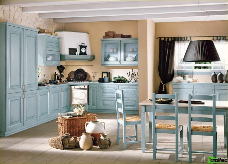 niebieskie zdjęcie kuchni