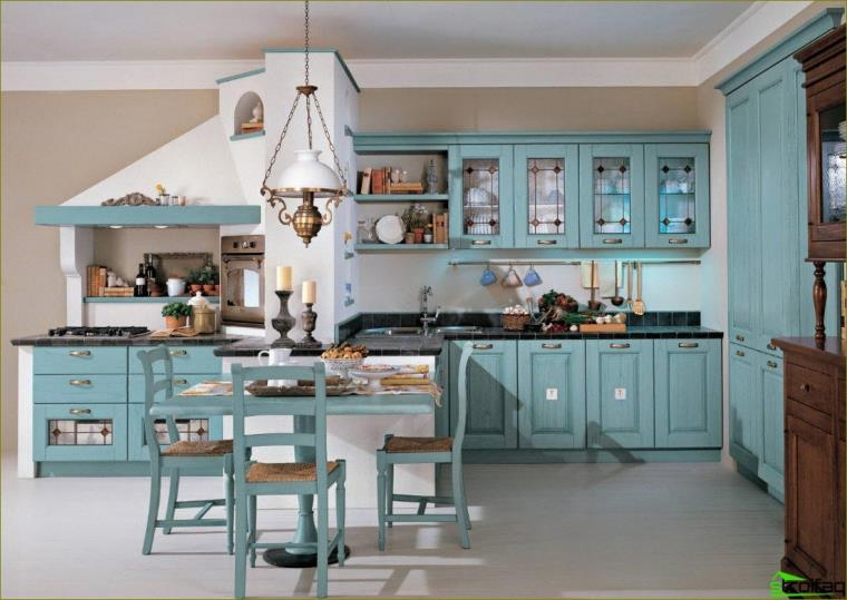 blå kjøkkenfoto