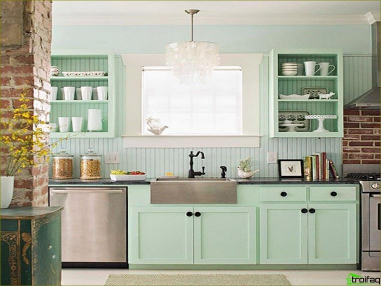 Cor de menta na cozinha