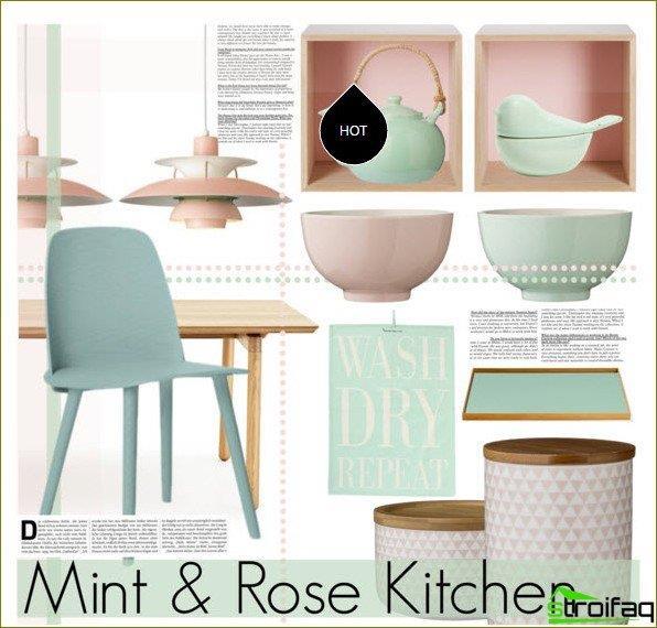 Culoare mentă în bucătărie